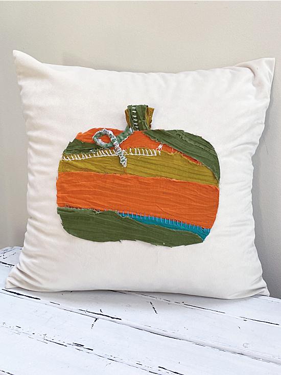 rag pumpkin pillow cover