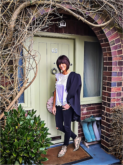 My Midlife Fashion, Boden Broderie Top, Marks and Spencer Limited Collection Military Blazer, Zara distressed boyfriend jeans, mango cuff bracelet, zara leopard print ghille lace up flats