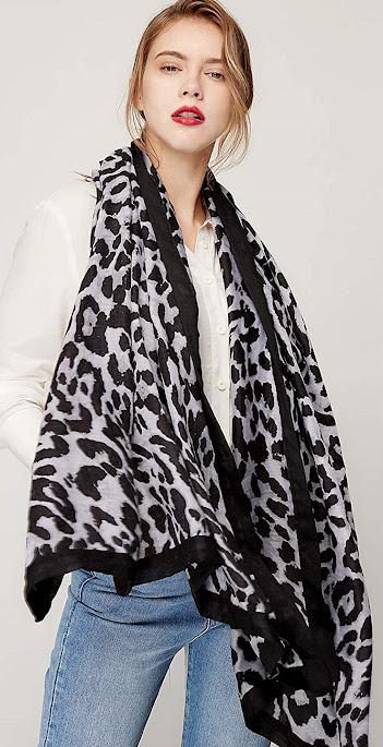 Gray Leopard Print Silky Chiffon Scarves