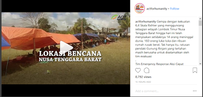 Caption bencana gempa di Lombok (instagram @actforhumanity)
