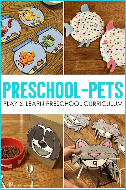 Preschool Pets Math and Litearcy Activities