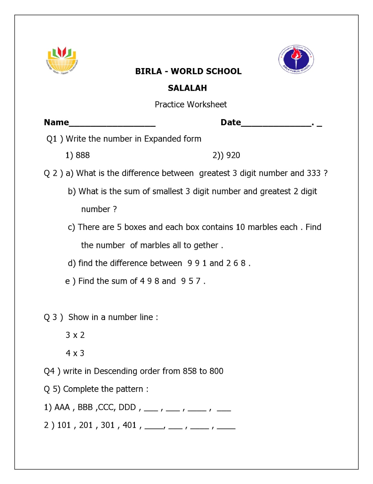 Birla World School Oman Homework For Grade 2b On 29 10 15