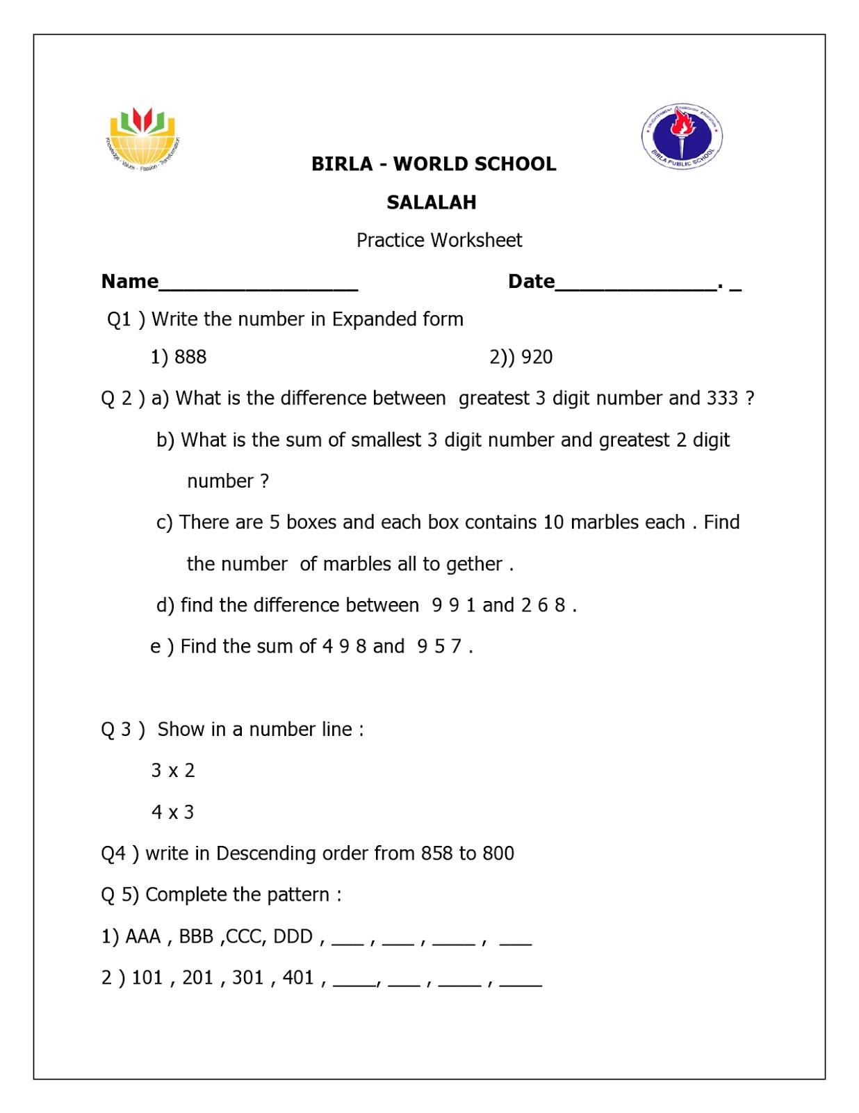 Birla World School Oman Homework For Grade 2b On 29 10 15