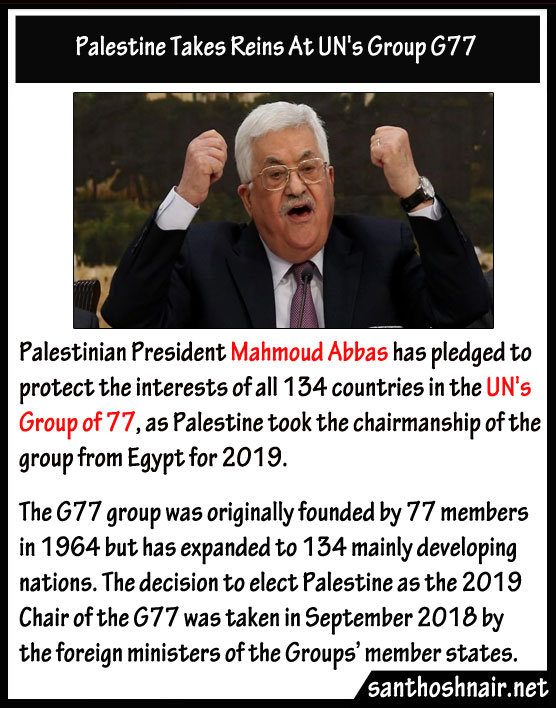 Palestine takes reins at UN's Group G77