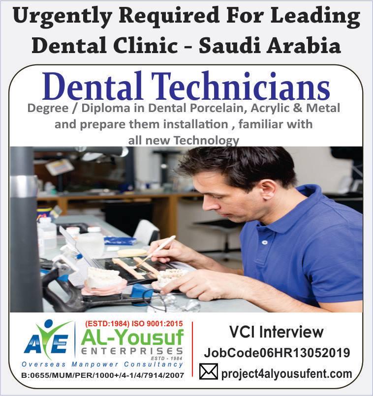 Dental Technicians for Leading Dental Clinic in Saudi Arabia