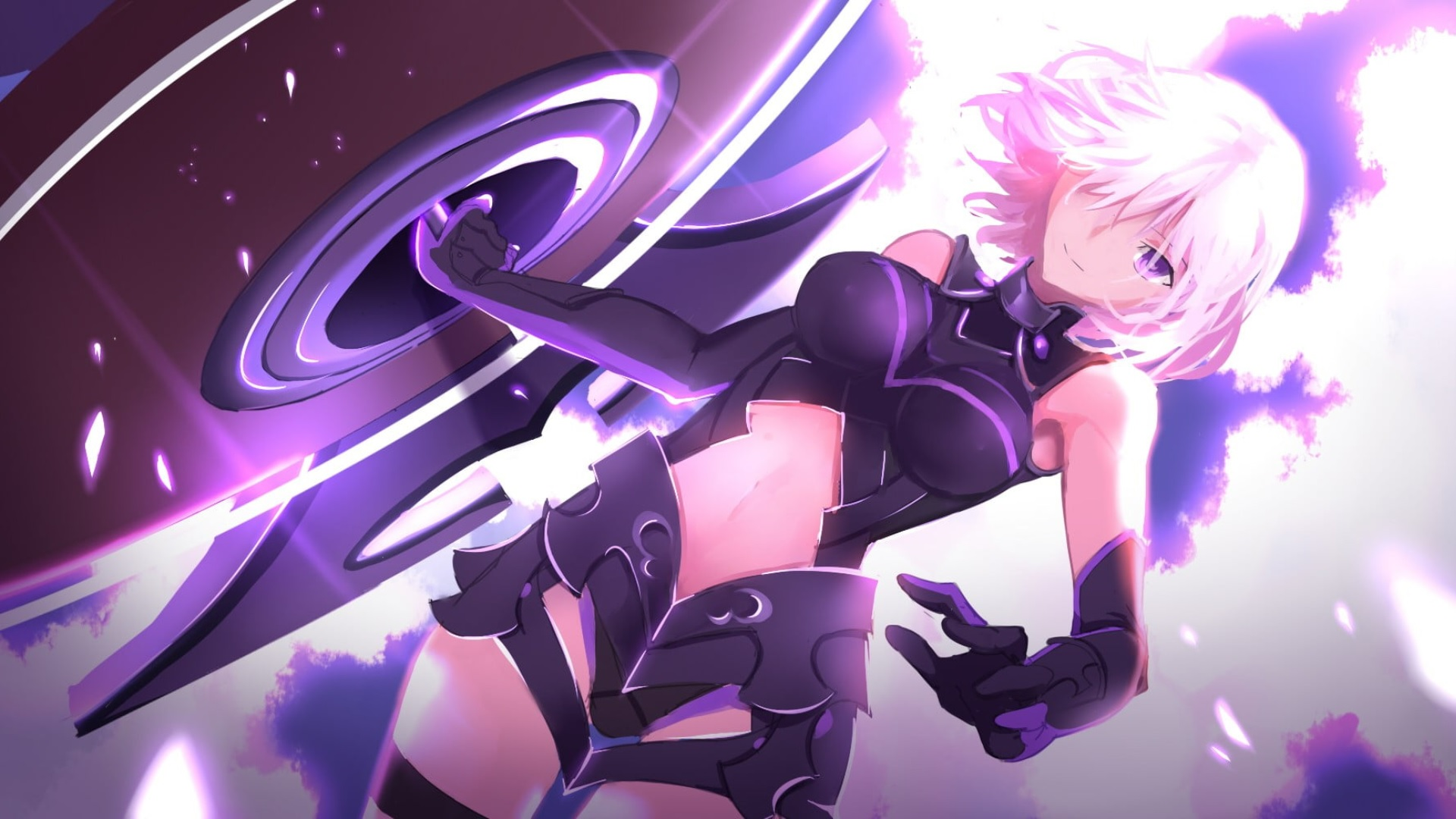 purple hair anime girl