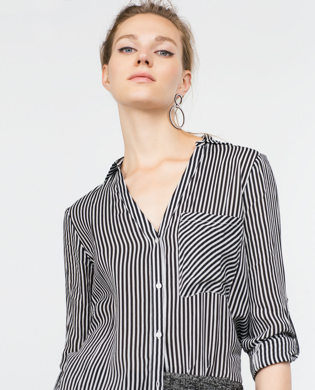 Zara Black and White Striped Blouse Review