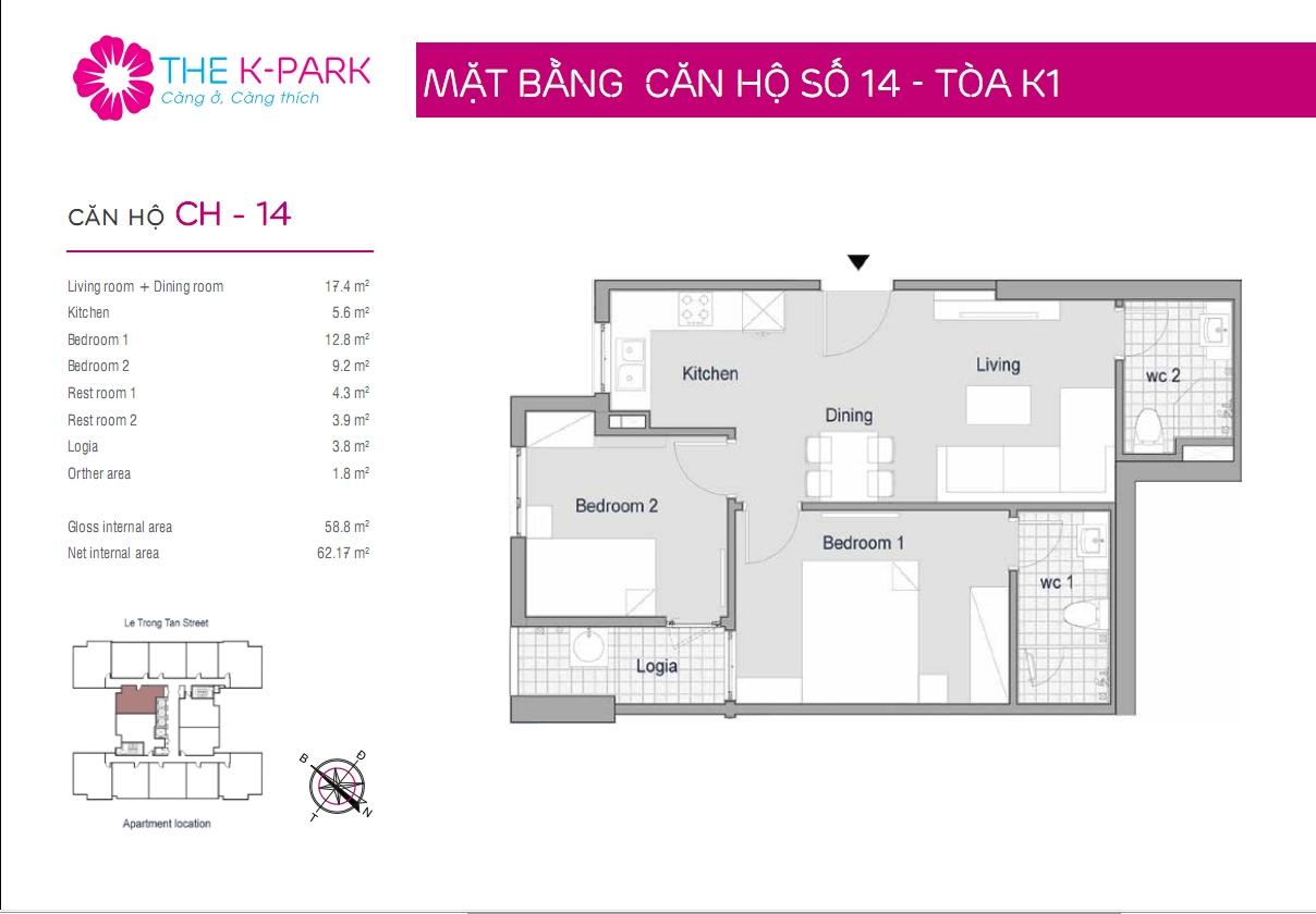 Mặt bằng căn hộ số 14- Tòa K1