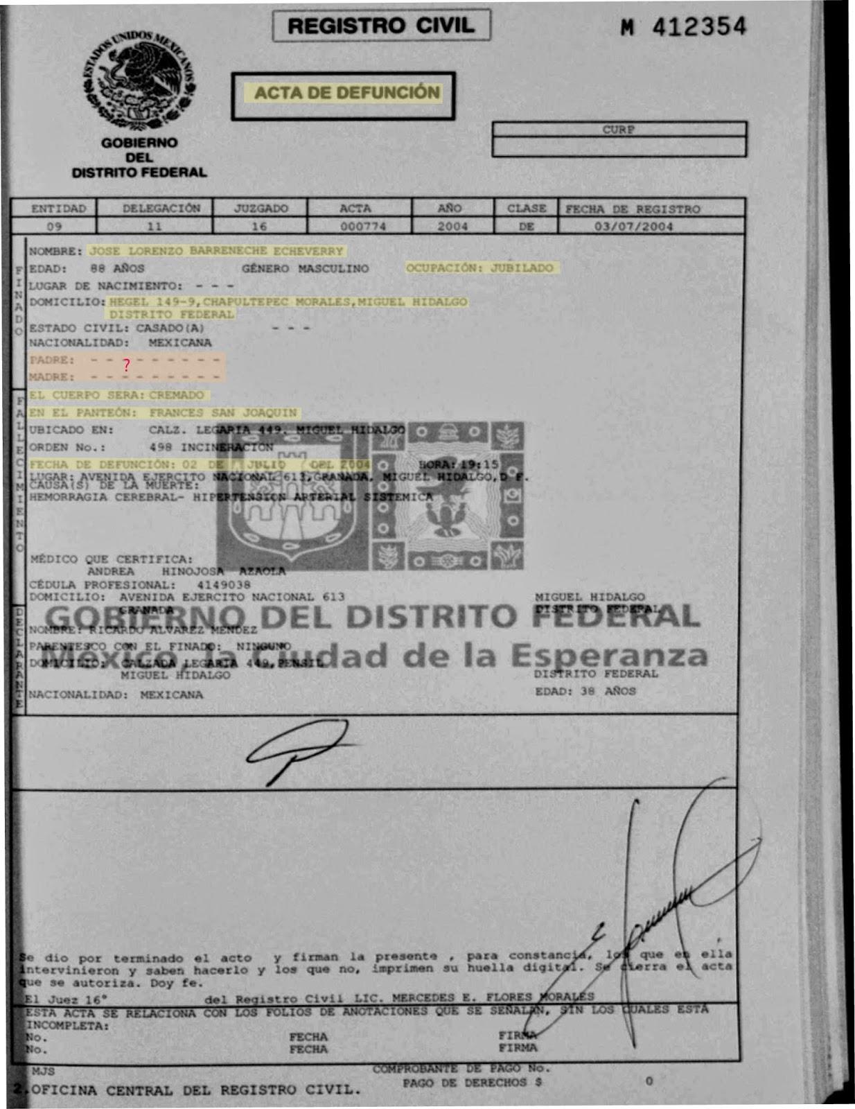 Magnífico Certificado De Defunción Del Condado De Los Ángeles ...