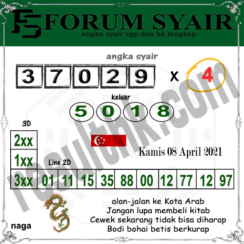 Forum Syair SGP Kamis 08 April 2021