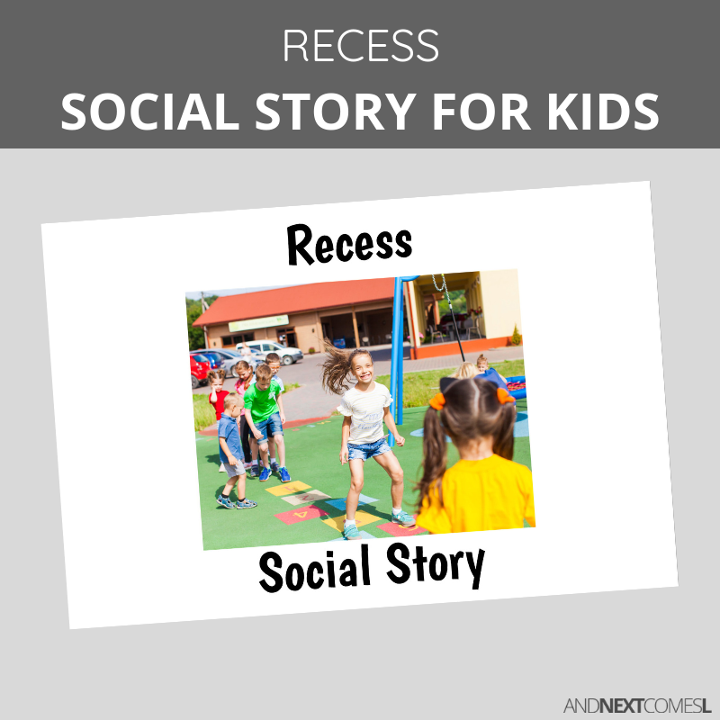 Printable social story for kids with autism about recess