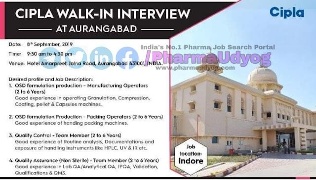 Cipla | Walk-in for Production- QC- QA | 8 September 2019 | Aurangabad