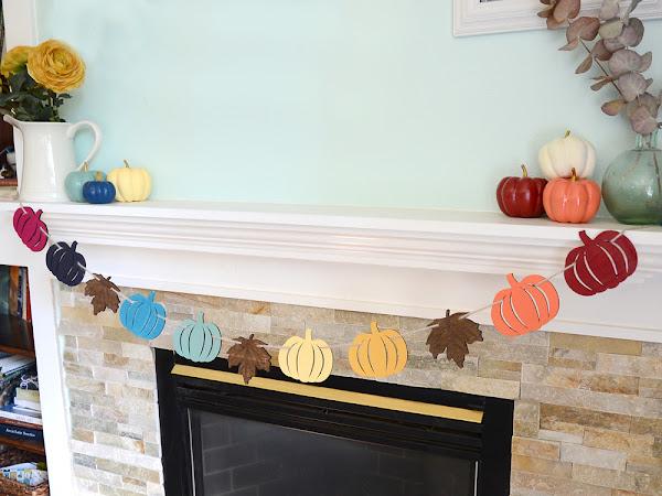 DIY Rainbow Pumpkin Garland