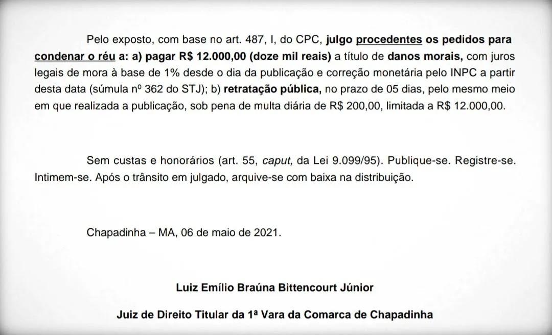 Justiça condena Júnior Carneiro a indenizar Belezinha