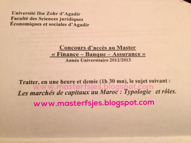 concours Master Finance Banque Assurance Fsjes Ibn Zohr Agadir