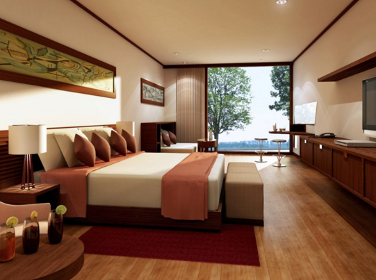 With parquet floors that provide warmth to the bedroom.