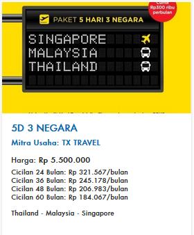 paket travelling tx travel 3 negara