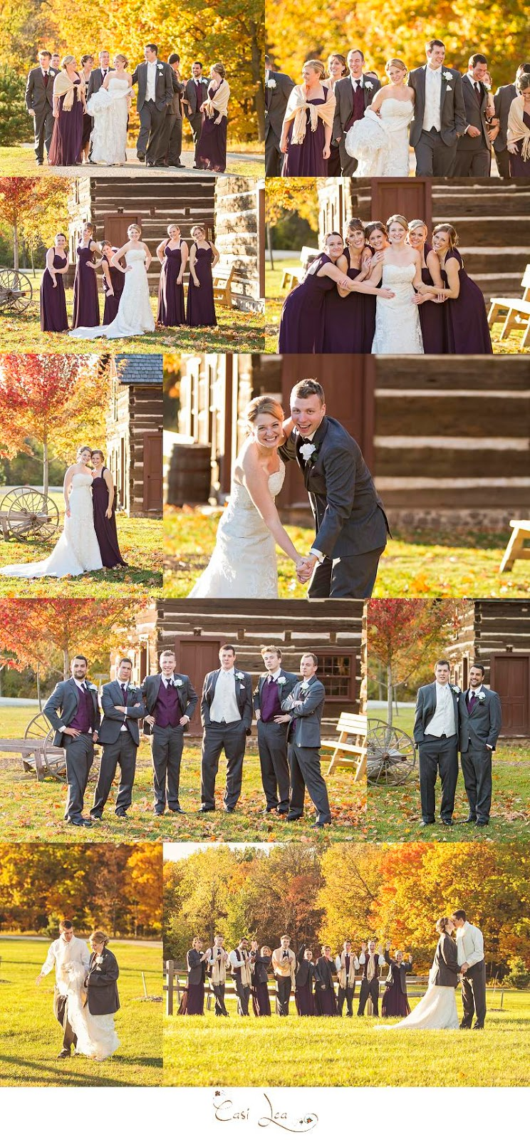 fall wedding, autumn colors, purple, eggplant, bridal party poses