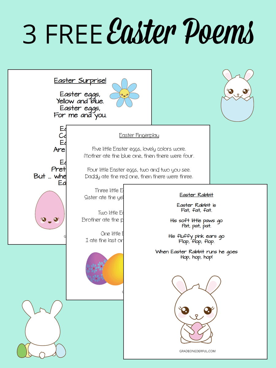 3 free and fabulous Easter poems for children. You'll get a 9-page pdf to immediately download and print.