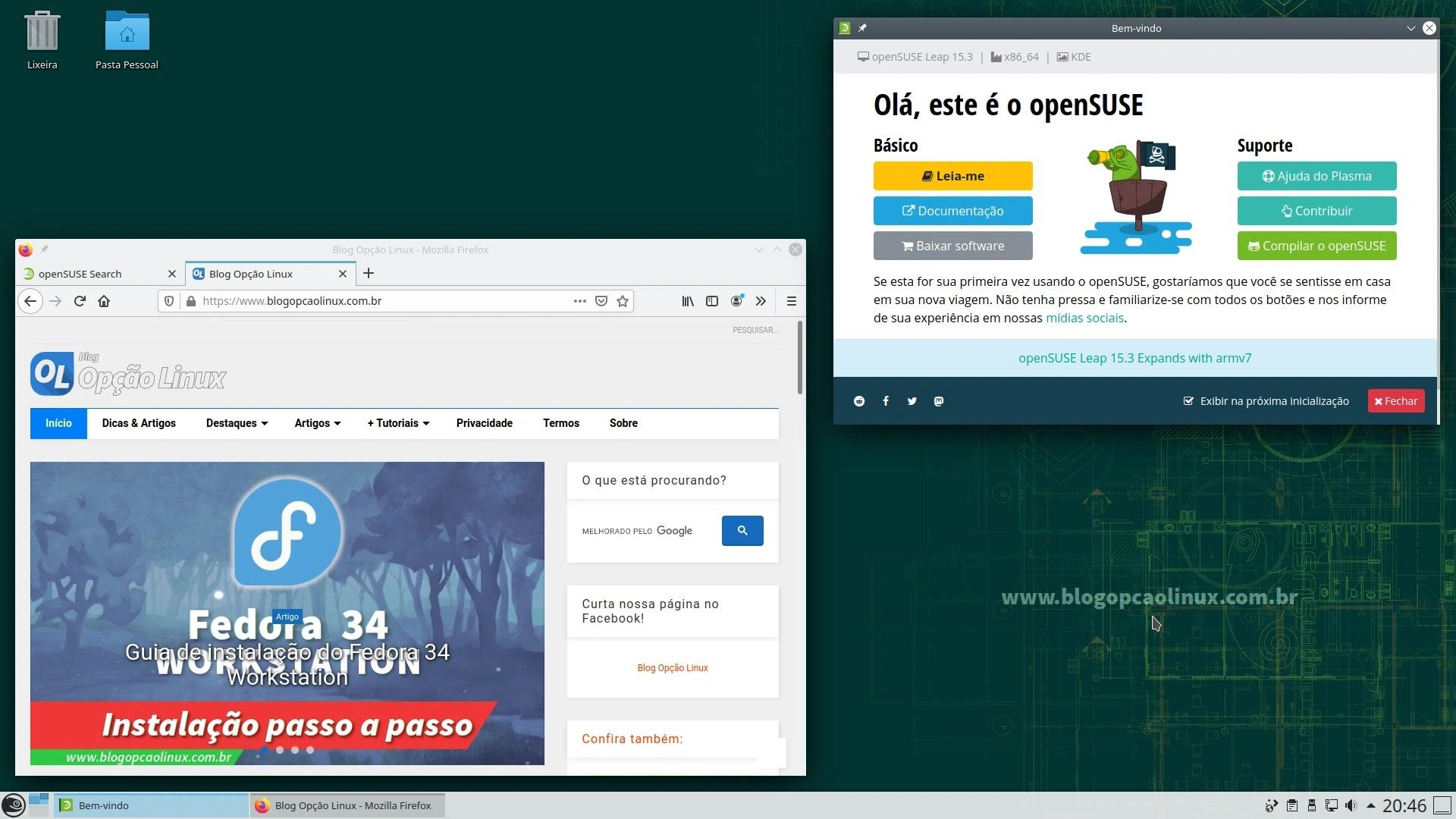 Captura de tela do openSUSE Leap 15.3 com o ambiente de área de trabalho KDE Plasma 5.18 LTS