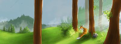Zorro colorado sentado junto a un árbol del bosque, atento.
