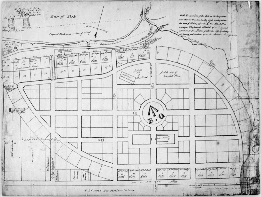Map: Proposed Sketch of an intended addition to the Town of York (Toronto), 1833, Henry James Castle
