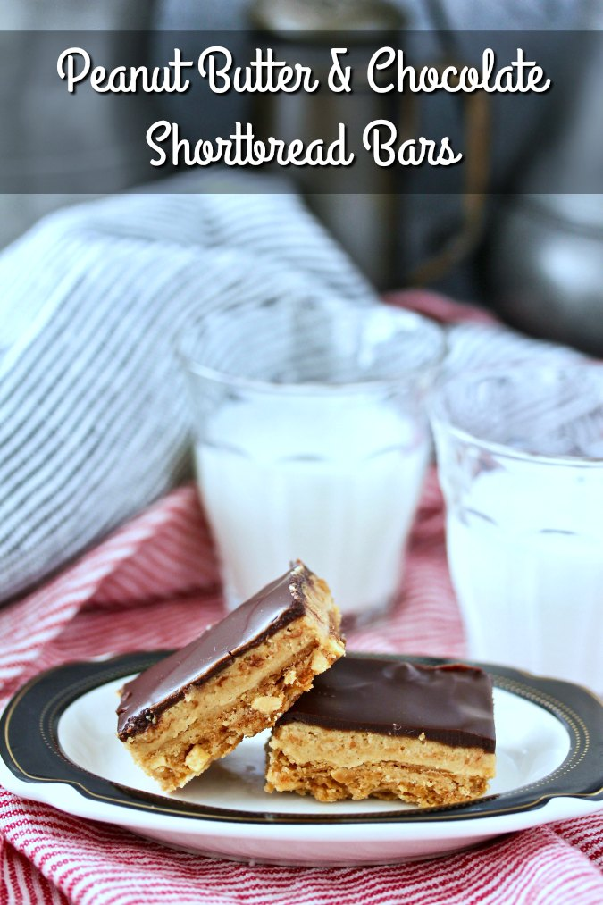 Peanut Butter and Chocolate Shortbread Bars with peanut butter mousse