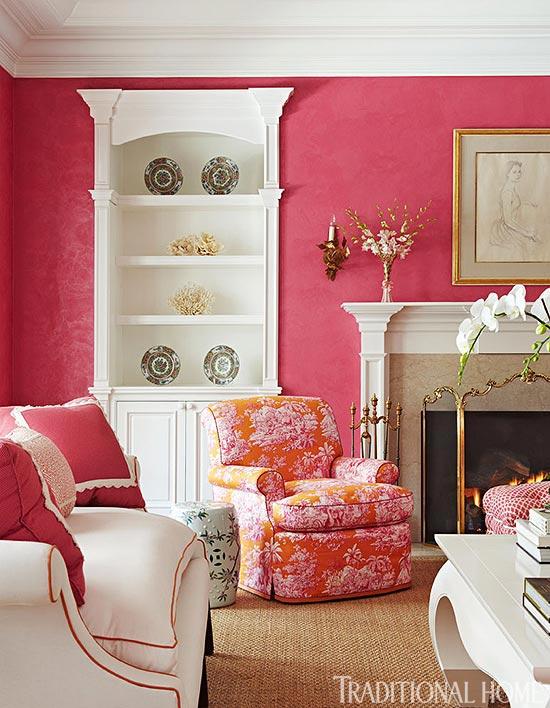 Pink walls in living room
