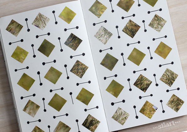 Sketchbook pattern green squares