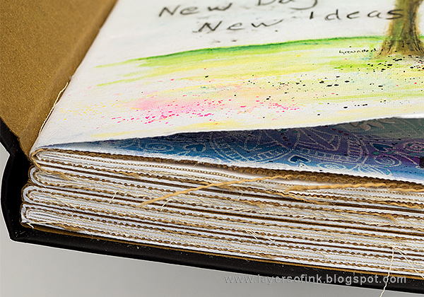 Layers of ink - Forget me not journal page tutorial by Anna-Karin in Dina Wakley Ranger Media Journal.