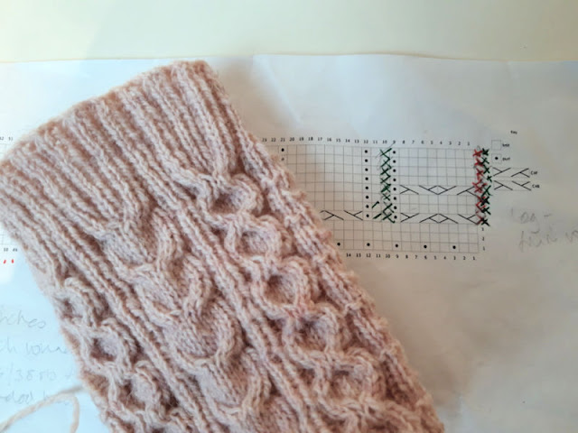 A section of pink cabled sock lying across a knitting chart