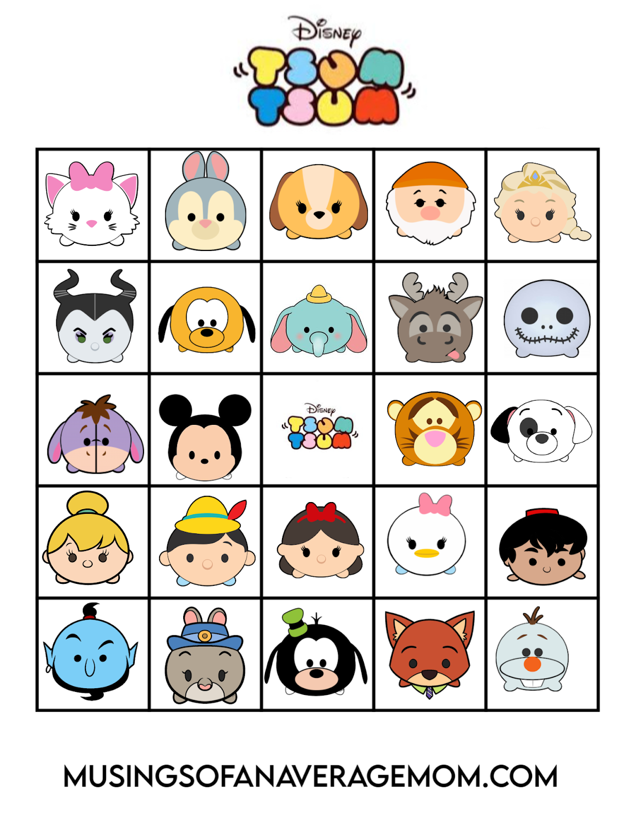 Tsum Tsum Bingo 2 : bingo, Musings, Average, Disney, Bingo, Printable
