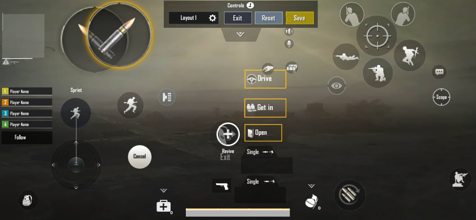 4 Finger Claw PUBG MOBILE Layout