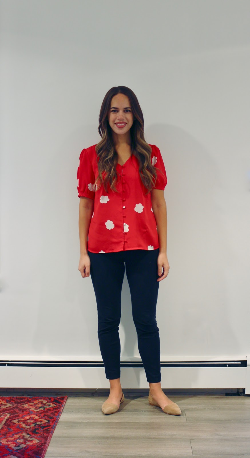Jules in Flats - Red Floral Button Front Blouse (Business Casual Workwear on a Budget)