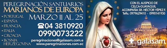 Peregrinación Santuarios Marianos de Europa, Marzo 11 al 25 de 2020.