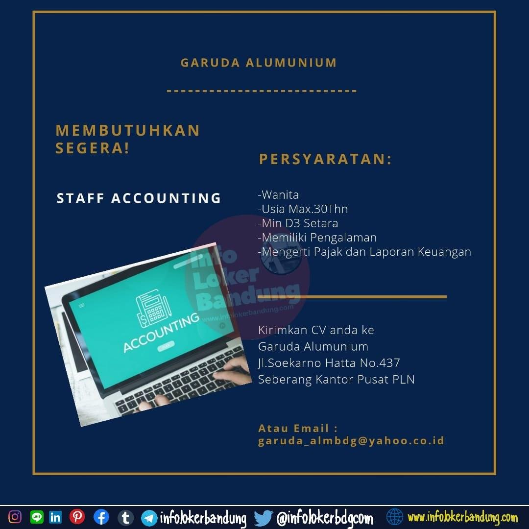Lowongan Kerja Staff Accounting Garuda Alumunium Bandung April 2020