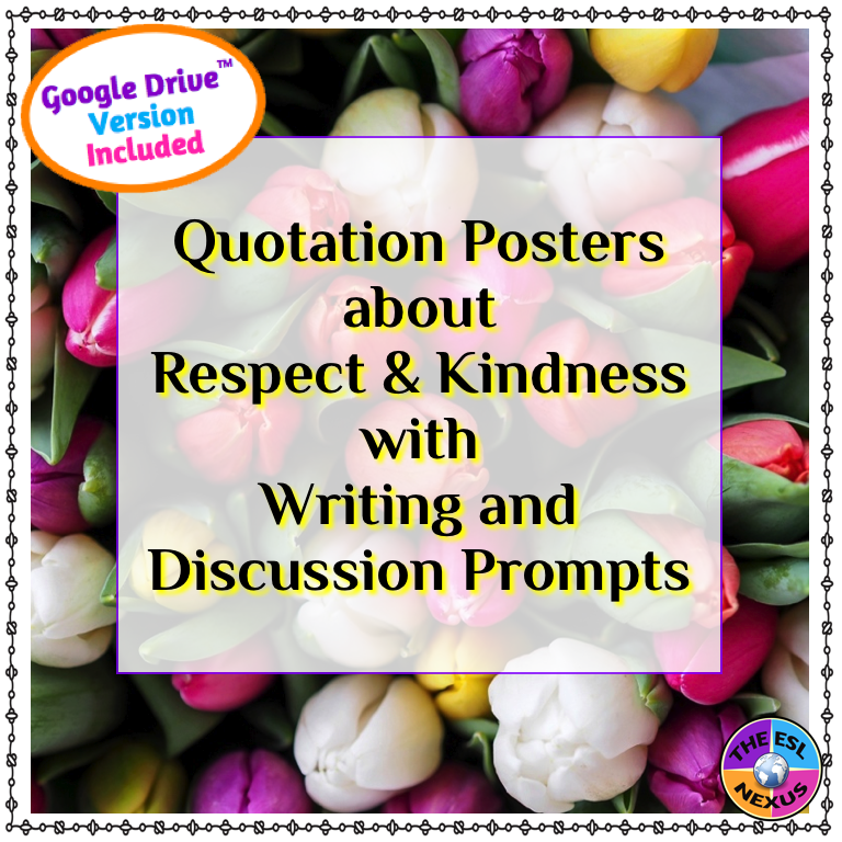 Create a positive classroom & school community with these Respect & Kindness posters with writing & speaking prompts | The ESL Nexus