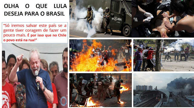 """LULA INCITA A ESQUERDA À VIOLÊNCIA NO BRASIL CITANDO O CHILE COMO """"EXEMPLO DE RESISTÊNCIA"""""""
