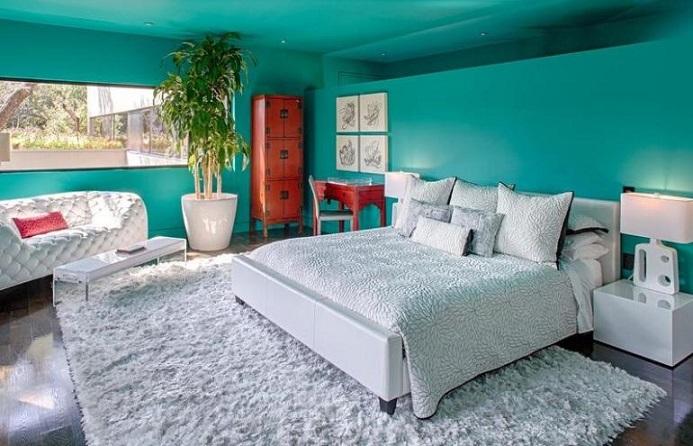 10 dormitorios decorados con turquesa colores en casa for Dormitorio turquesa