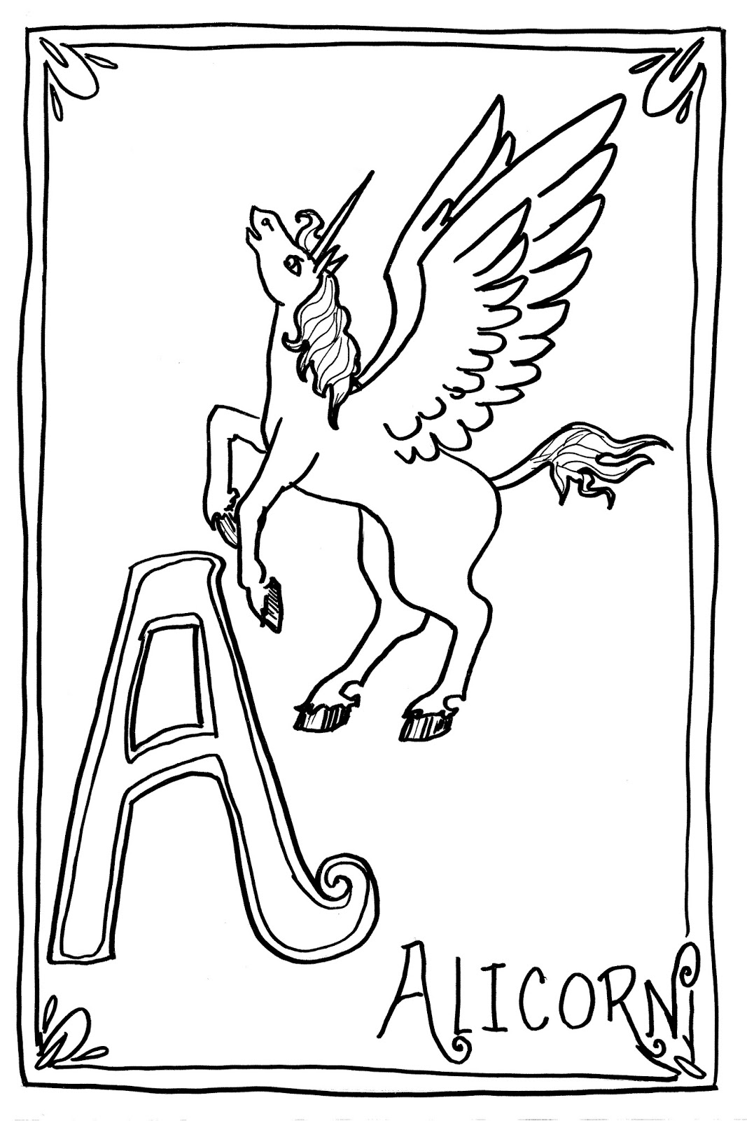 (free!) Original Coloring Pages: A is for Alicorn