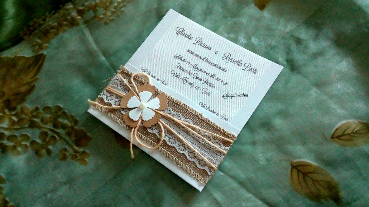 Matrimonio Tema Juta : Partecipazione matrimonio carta imballaggio e juta u inviti a nozze