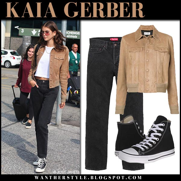 Kaia Gerber in brown suede jacket saint laurent and black jeans model street fashion september 17