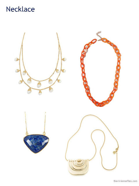 A Capsule Wardrobe in Beige, Bright Blue and Orange: Expanding Your Accessories - necklaces