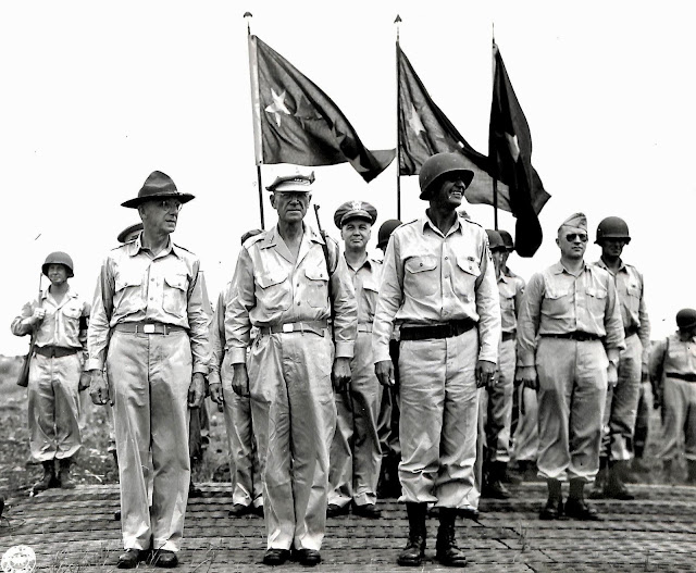 Review of troops by US Army bigwigs at Lipa, Batangas in 1945.  Image source:  United States National Archives.