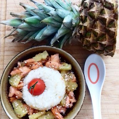 Recette: saumon à l'ananas, miel et sésame