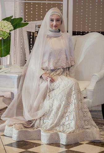 Model Kebaya Gamis Warna Putih Untuk Akad Nikah