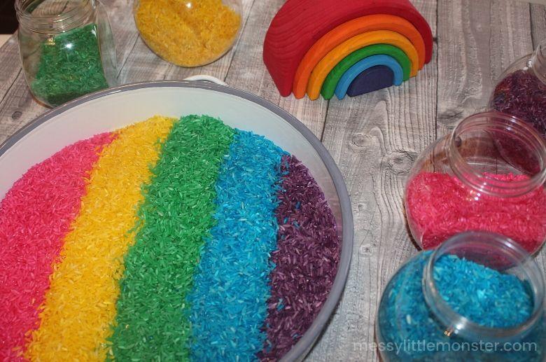 indoor activities for kids - rainbow rice