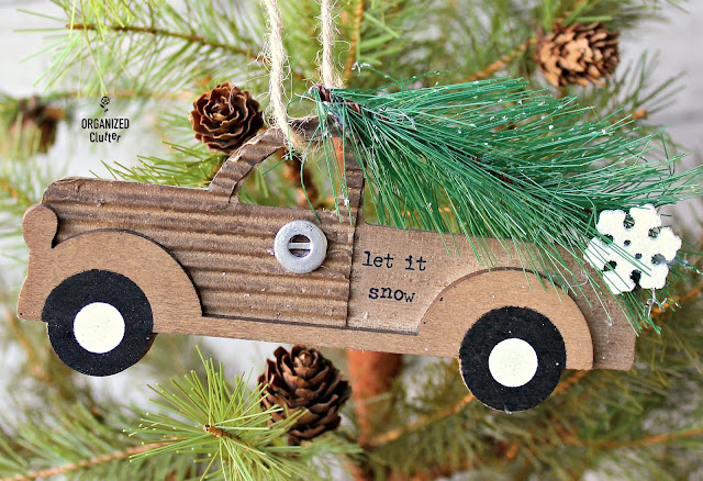 Semi-Homemade Truck Ornaments #DollarGeneral #Christmasdecor #Christmastreeornaments #semihomemadeornaments