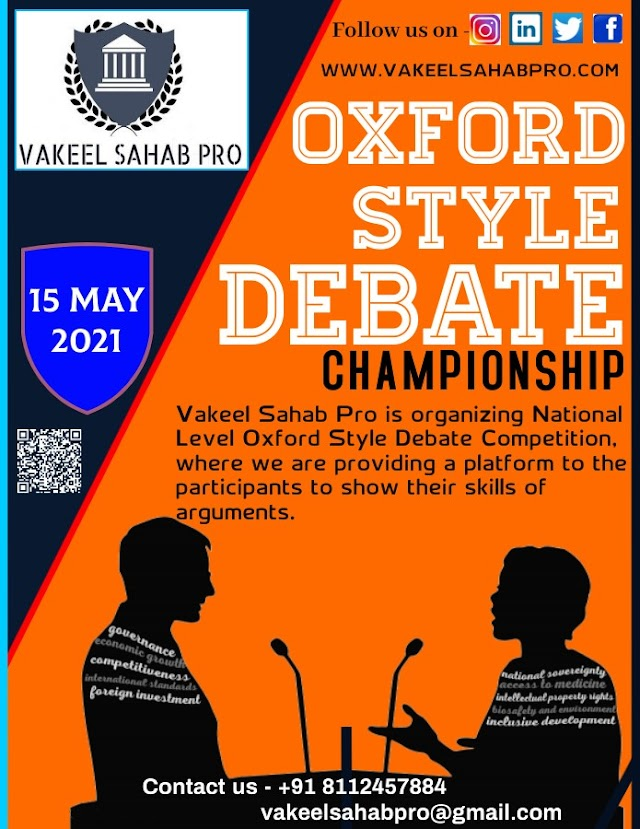 NATIONAL LEVEL OXFORD STYLE DEBATE CHAMPIONSHIP by VAKEEL SAHAB PRO