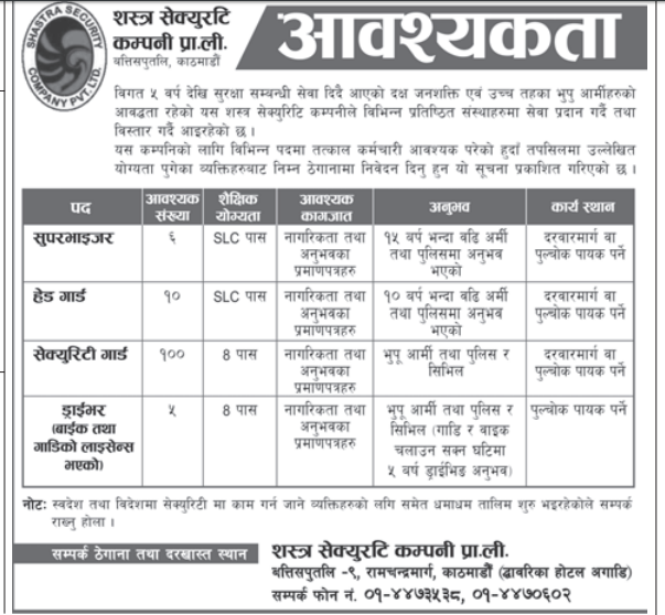 Security Guard jobs in Nepal in Sastra Security Company Pvt Ltd.